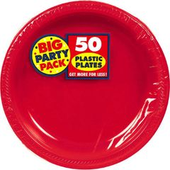 "Apple Red Big Party Pack Plastic Plates, 10 1/4"" 50ct"