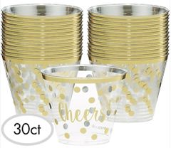 """Cheers!"" New Year Plastic Tumblers, 9 oz."