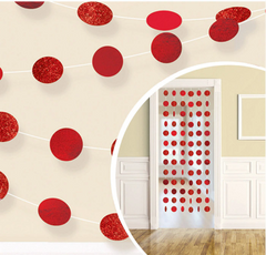 Glitter Red Polka Dot String Decorations, 6ct