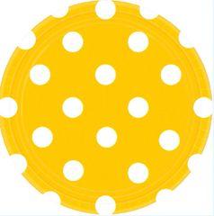 "Yellow Sunshine Polka Dots Round Plates, 7"""