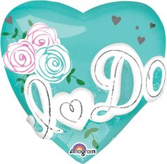 """I Do Heart Tiffany Blue Super Shape Balloon 28"""""""
