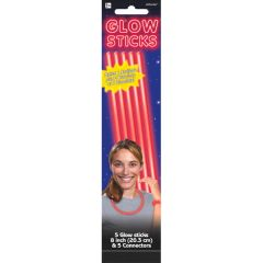 "8"" Red Glow Sticks, 5ct"