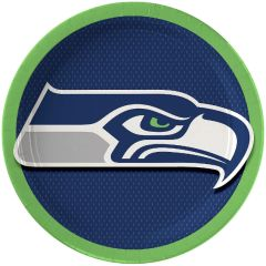 "Seattle Seahawks 9"" Round Plates, 8ct"