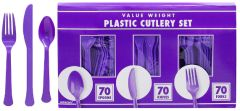 Big Party Pack New Purple Window Box Cutlery Set, 210ct