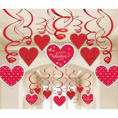 Valentine's Day Swirl Decorations, 30ct
