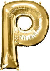 "Gold Letter P - 34"" Mylar Balloon"