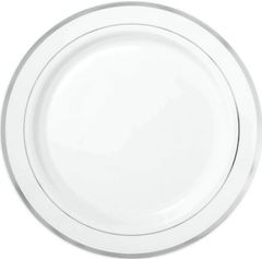 "White Premium Plastic Round Plates with Silver Trim, 10 1/4"""