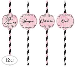 A Day in Paris Paper Straws, 12ct