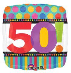 "50th! Birthday Dot & Stripes 18"""
