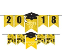 """2016-2019"" Grad Personalized Glitter Letter Banner Kit - Yellow"