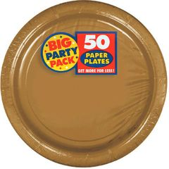 "Big Party Pack Gold Dessert Paper Plates, 7"" - 50ct"