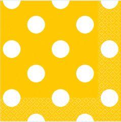 Yellow Sunshine Polka Dots Beverage Napkins