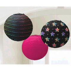 Disco 70's Round Printed Paper Lanterns