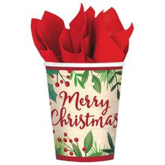 Merry Holly Day Cups, 9 oz.