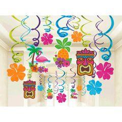 Summer Luau Foil Swirl Decorations
