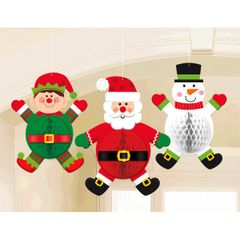 Christmas Characters Honeycomb Hanging Decorations