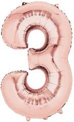 """34"""" Rose Gold #3 Mylar Balloon"""