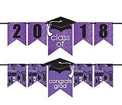 """2016-2019"" Grad Personalized Glitter Letter Banner Kit - Purple"