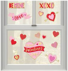 Valentine's Day Embossed Foil Window Decorations