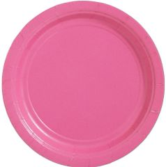 "Big Party Pack Bright Pink Lunch Paper Plates, 9""- 50ct"