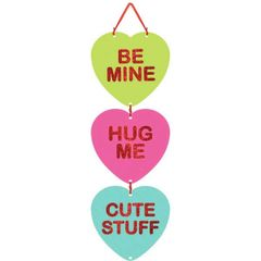 Candy Hearts Stacked Sign w/Ribbon Hanger