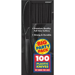 Big Party Pack Black Plastic Knives, 100ct