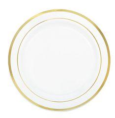"""White Premium Plastic Round Plates with Gold Trim, 6 1/4"""" - 20ct"""