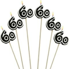 Black Number 60 Birthday Toothpick Candles, 6ct