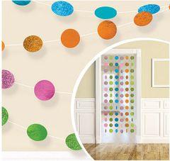 Glitter Multicolor Bright Polka Dot String Decorations 6ct