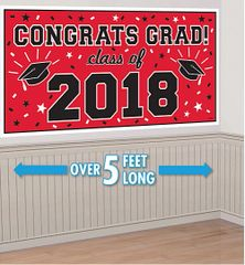 """2018"" Red Grad 2018 Horizontal Banner"