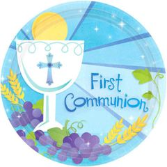 "Boy's First Communion Dessert Plates, 7"" - 18ct"