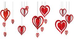 3-D Heart Hanging Foil Decoration Kit, 16ct