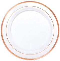 "White Rose Gold Trimmed Premium Plastic Dinner Plates, 10 1/4"" - 10ct"