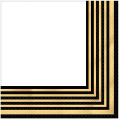 Black & Metallic Gold Stripe Premium Beverage Napkins, 16ct