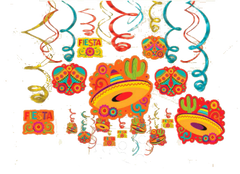 Caliente Fiesta Swirl Decorations, 30ct