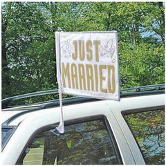 """JUST MARRIED"" Wedding Car Flag"
