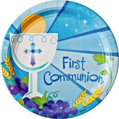 "Boy's First Communion Dinner Plates, 10 1/2"" - 18ct"