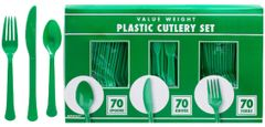 Big Party Pack Festive Green Window Box Cutlery Set, 210ct