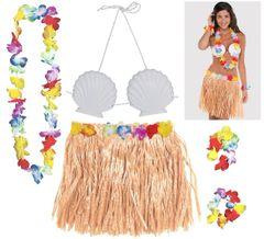 Adult Natural Hula Skirt Kit, 5pc