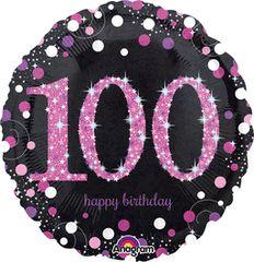 "Pink Sparkling 100th Birthday Celebration Balloon 18"""