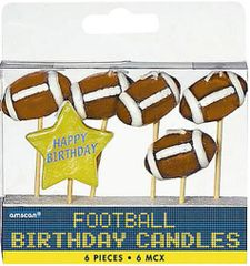 Football Birthday Toothpick Candle Set