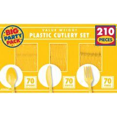 Yellow Sunshine Value Window Box Cutlery Set, 210ct