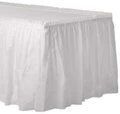 """Frosty White Solid Color Plastic Table Skirt, 14' x 29"""""""