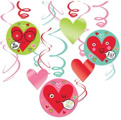 Heart Face Foil Swirl Decorations, 12ct