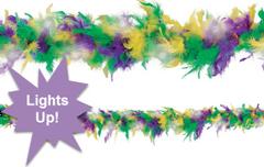 Light-Up Mardi Gras Feather Boa
