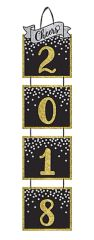 """2018"" New Year's Jumbo Hanging Decoration - Black, Silver, Gold"