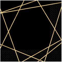 Black Metallic Gold Line Premium Lunch Napkins, 16ct