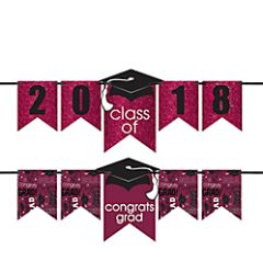 """2016-2019"" Grad Personalized Glitter Letter Banner Kit - Berry"