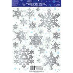 Glitter Snowflake Vinyl Window Decorations