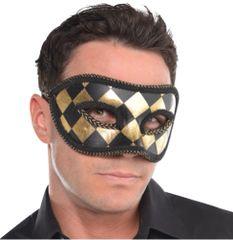 Harlequin Black & Gold Mask